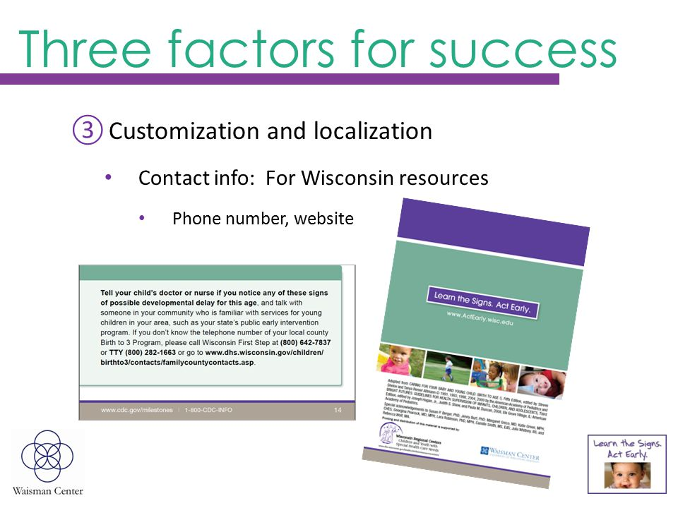 ③Customization and localization Contact info: For Wisconsin resources Phone number, website Three factors for success