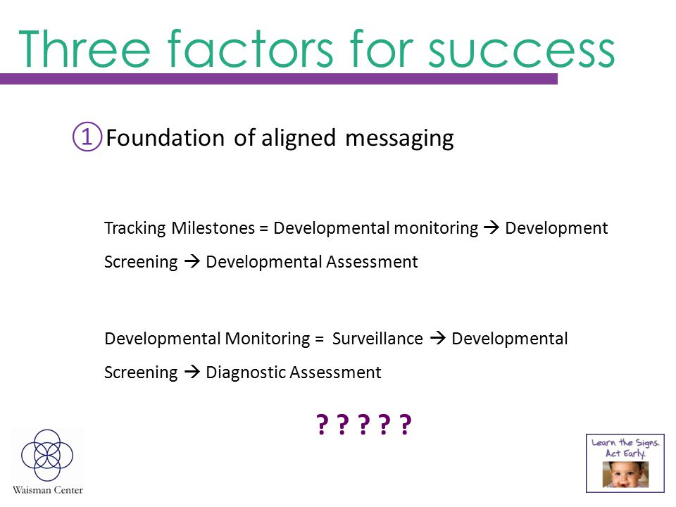 ①Foundation of aligned messaging Tracking Milestones = Developmental monitoring  Development Screening  Developmental Assessment Developmental Monitoring = Surveillance  Developmental Screening  Diagnostic Assessment .