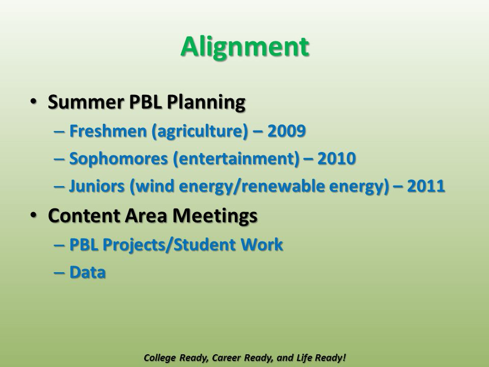 Alignment Summer PBL Planning Summer PBL Planning – Freshmen (agriculture) – 2009 – Sophomores (entertainment) – 2010 – Juniors (wind energy/renewable energy) – 2011 Content Area Meetings Content Area Meetings – PBL Projects/Student Work – Data College Ready, Career Ready, and Life Ready!