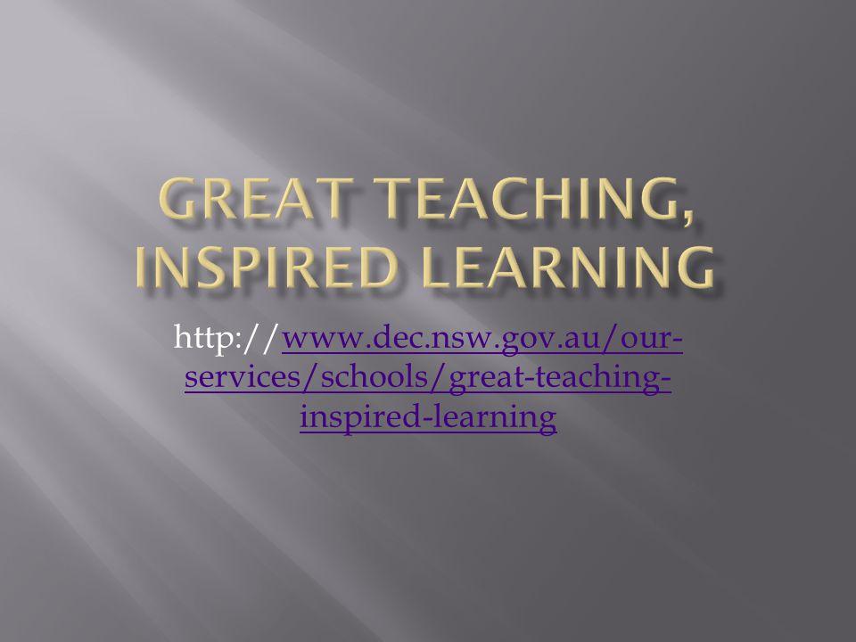 http://www.dec.nsw.gov.au/our- services/schools/great-teaching- inspired-learningwww.dec.nsw.gov.au/our- services/schools/great-teaching- inspired-lea