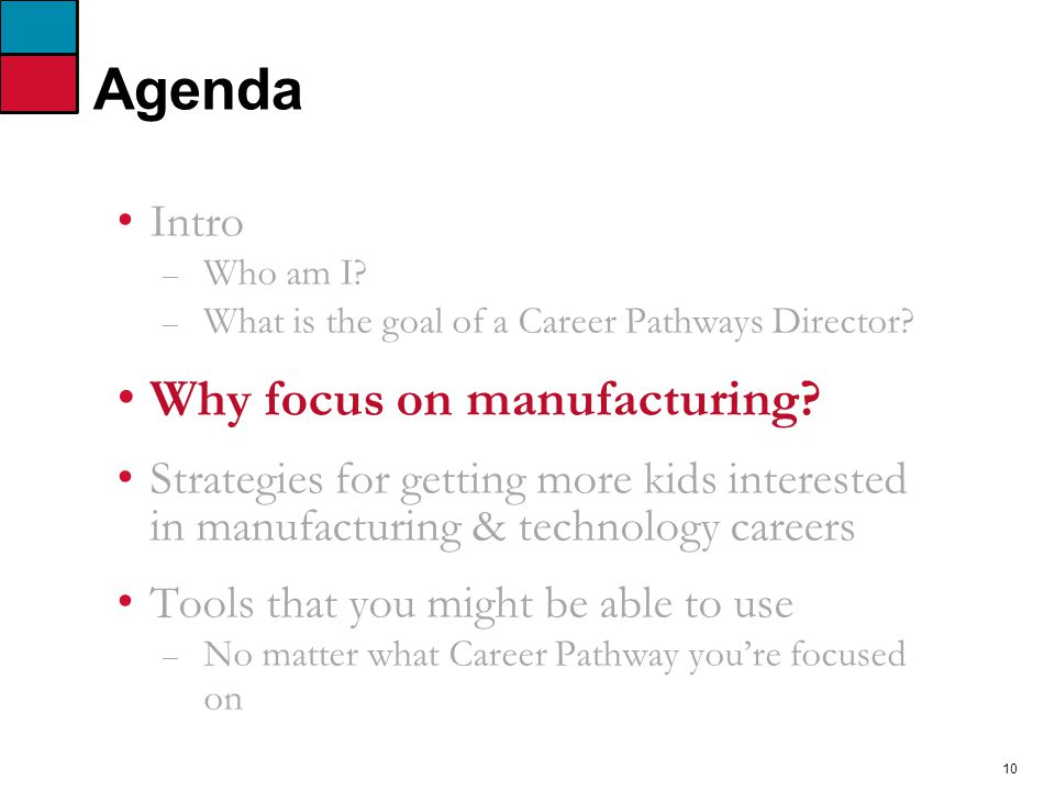 10 Agenda Intro – Who am I. – What is the goal of a Career Pathways Director.