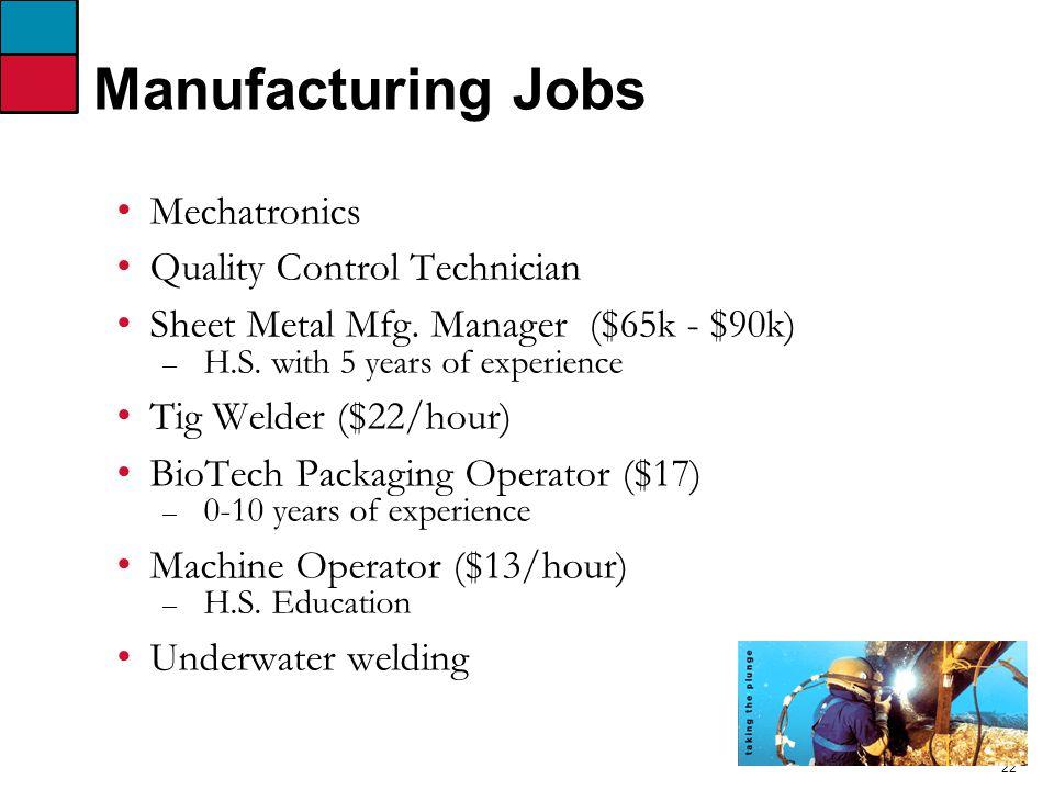 22 Manufacturing Jobs Mechatronics Quality Control Technician Sheet Metal Mfg.