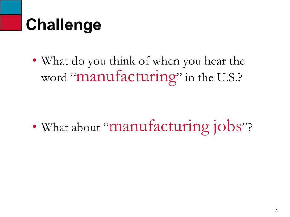 8 Challenge What do you think of when you hear the word manufacturing in the U.S..