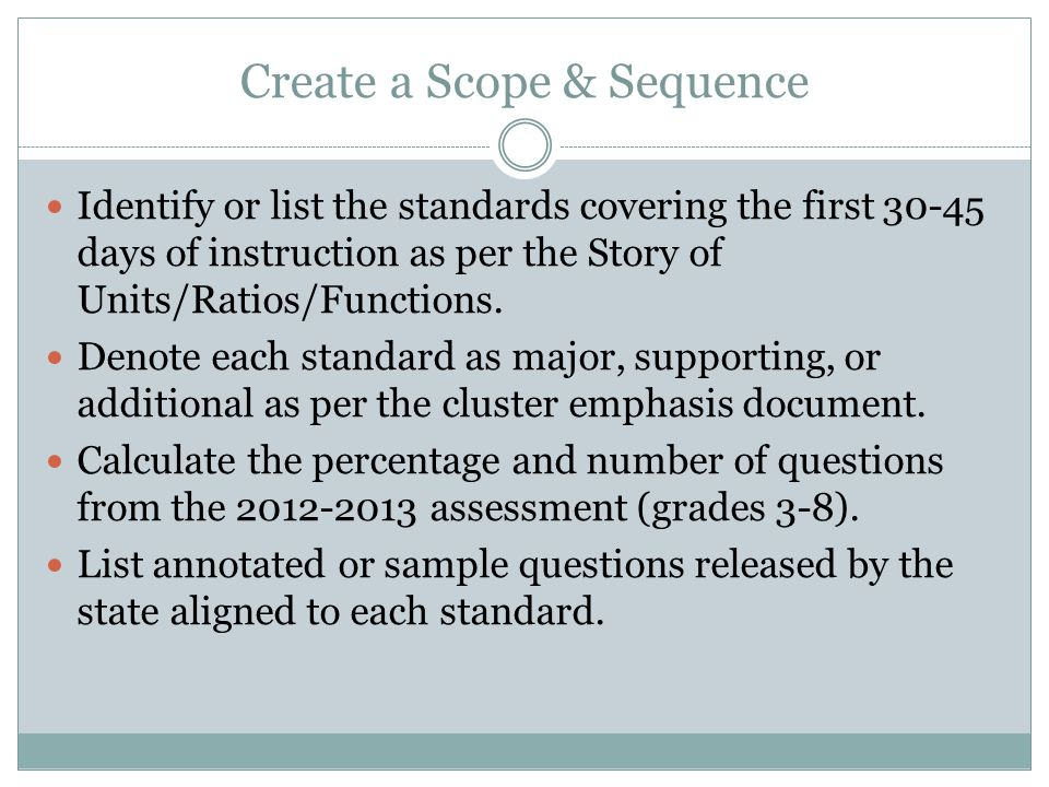 Create a Scope & Sequence Identify or list the standards covering the first 30-45 days of instruction as per the Story of Units/Ratios/Functions.