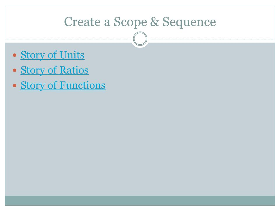Create a Scope & Sequence Story of Units Story of Ratios Story of Functions