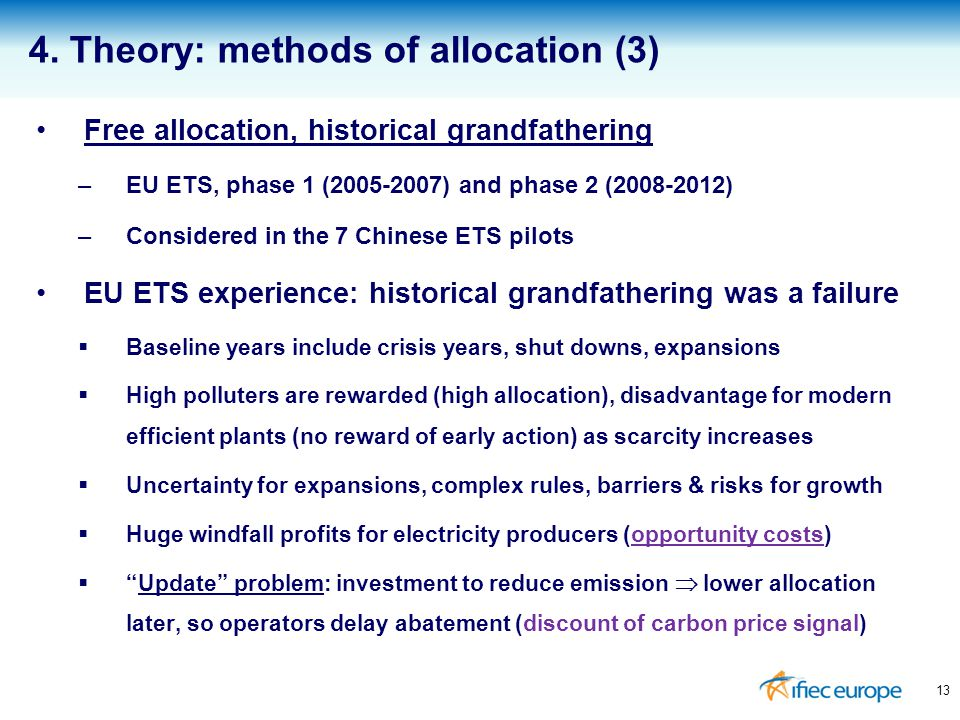 Free allocation, historical grandfathering –EU ETS, phase 1 (2005-2007) and phase 2 (2008-2012) –Considered in the 7 Chinese ETS pilots EU ETS experie