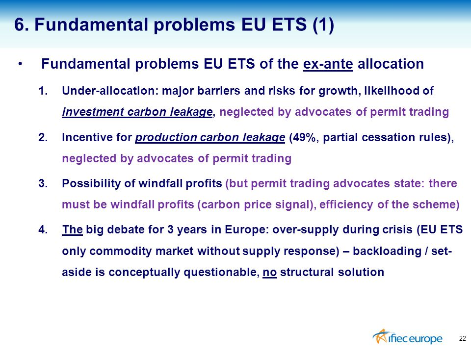 Fundamental problems EU ETS of the ex-ante allocation 1.Under-allocation: major barriers and risks for growth, likelihood of investment carbon leakage