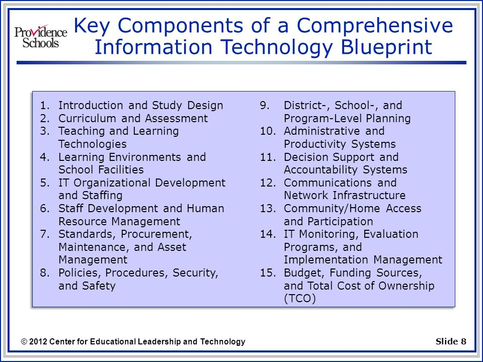 © 2012 Center for Educational Leadership and Technology Slide 8 Key Components of a Comprehensive Information Technology Blueprint 1.Introduction and Study Design 2.Curriculum and Assessment 3.Teaching and Learning Technologies 4.Learning Environments and School Facilities 5.IT Organizational Development and Staffing 6.Staff Development and Human Resource Management 7.Standards, Procurement, Maintenance, and Asset Management 8.Policies, Procedures, Security, and Safety 9.District-, School-, and Program-Level Planning 10.Administrative and Productivity Systems 11.Decision Support and Accountability Systems 12.Communications and Network Infrastructure 13.Community/Home Access and Participation 14.IT Monitoring, Evaluation Programs, and Implementation Management 15.Budget, Funding Sources, and Total Cost of Ownership (TCO)