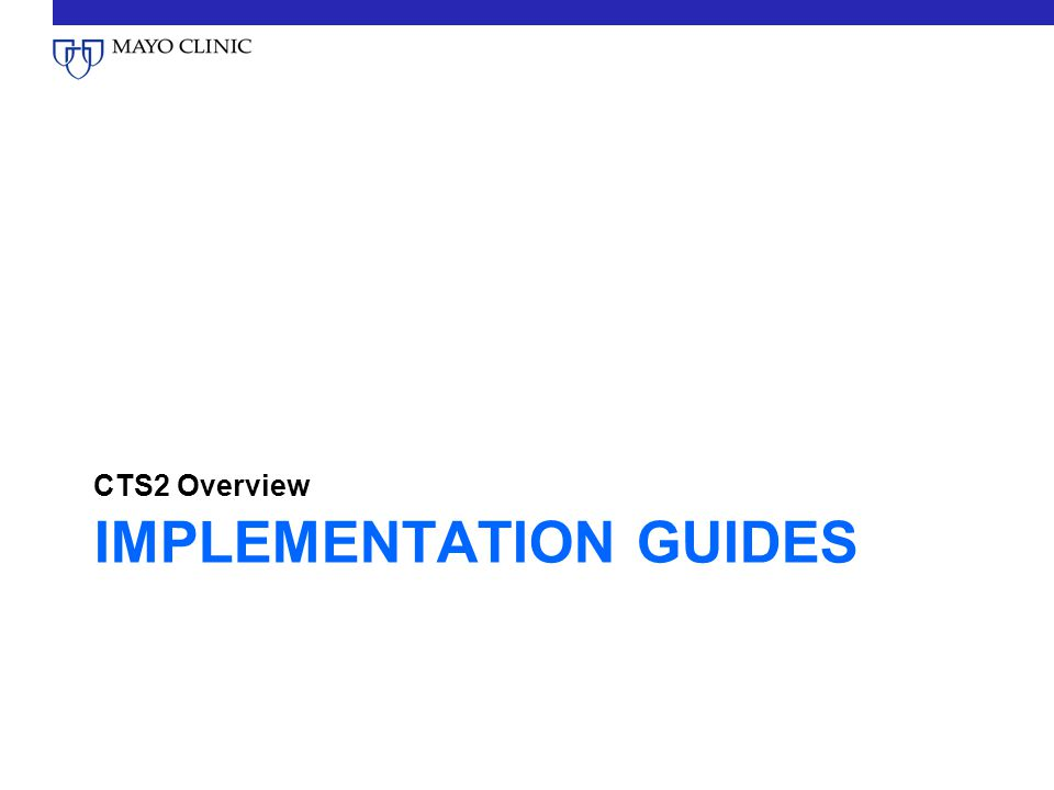 IMPLEMENTATION GUIDES CTS2 Overview
