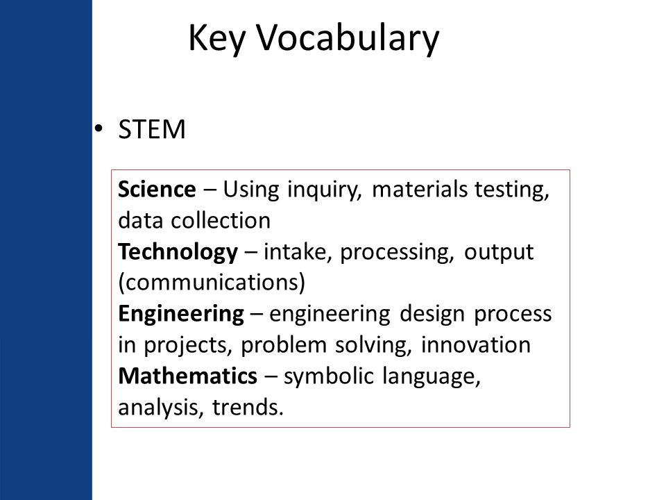 Non-Negotiables 5.1 Develops integrated STEM curriculum, assessment and instruction for the Academy 5.2 Internship and/or capstone 5.3 Project-based and problem-based curriculum, instruction, and assessment