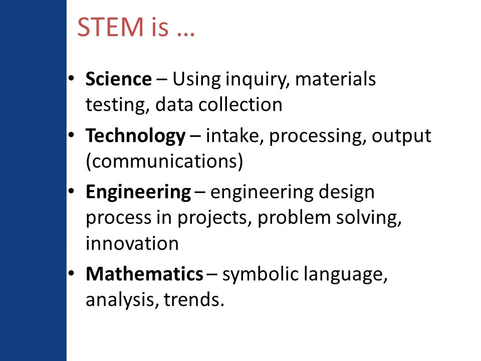 Academy Design: T-STEM Blueprint Mission-Driven Leadership Culture & Design Culture & Design Advancement & Sustainability Teachers Students Alliances Curriculum, Instruction, & Assessment Student Achievement