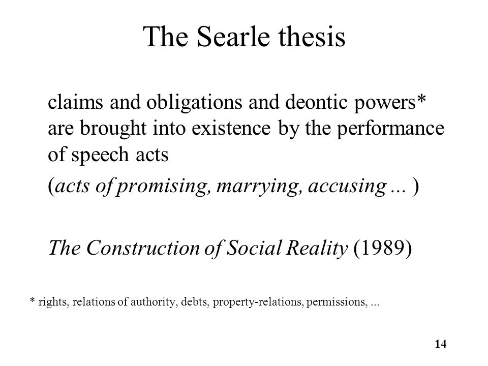 14 The Searle thesis claims and obligations and deontic powers* are brought into existence by the performance of speech acts (acts of promising, marrying, accusing...