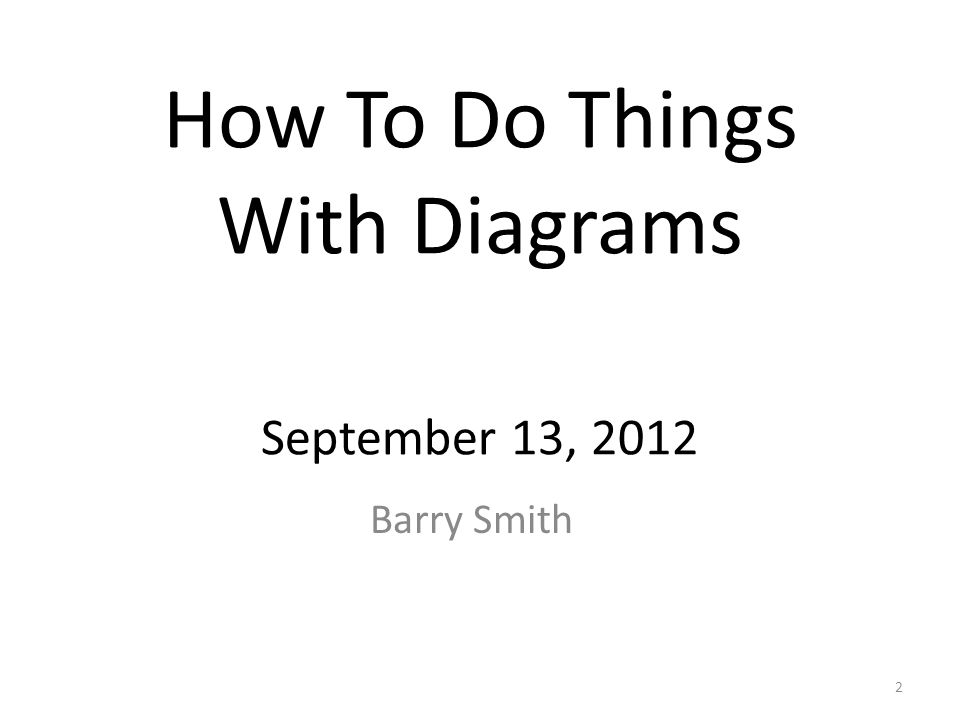 How To Do Things With Diagrams September 13, 2012 Barry Smith 2