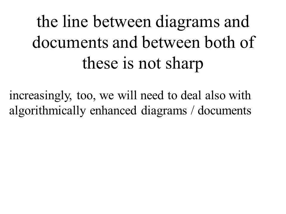 the line between diagrams and documents and between both of these is not sharp increasingly, too, we will need to deal also with algorithmically enhanced diagrams / documents