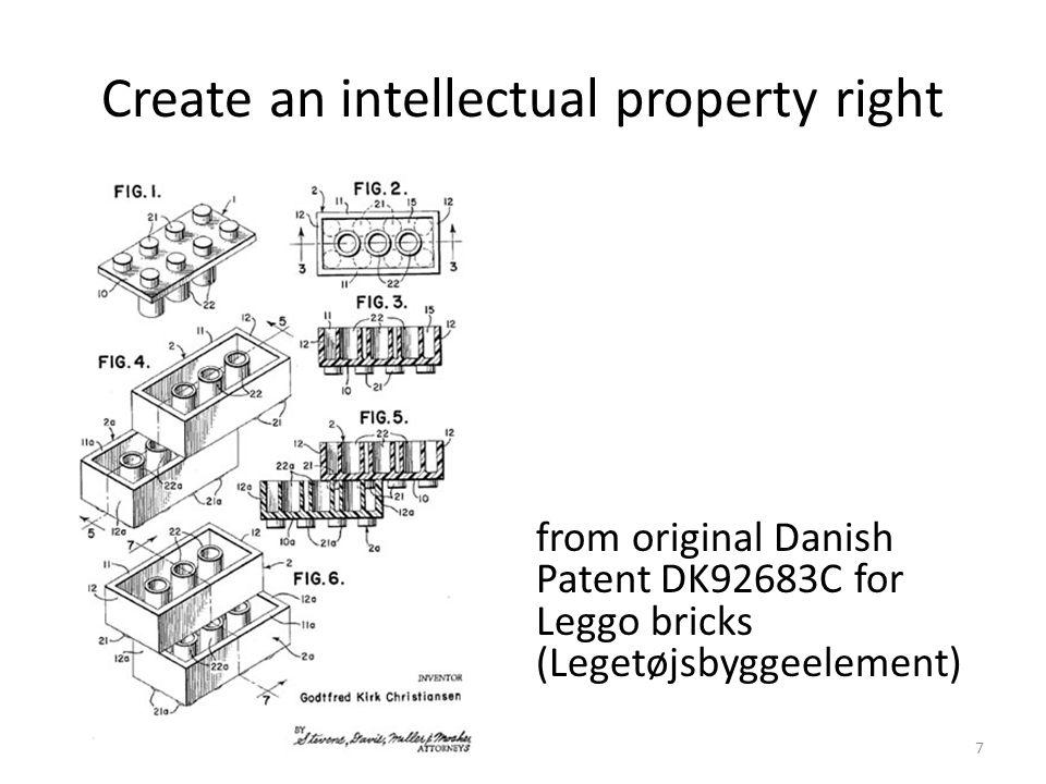 Create an intellectual property right from original Danish Patent DK92683C for Leggo bricks (Legetøjsbyggeelement) 7