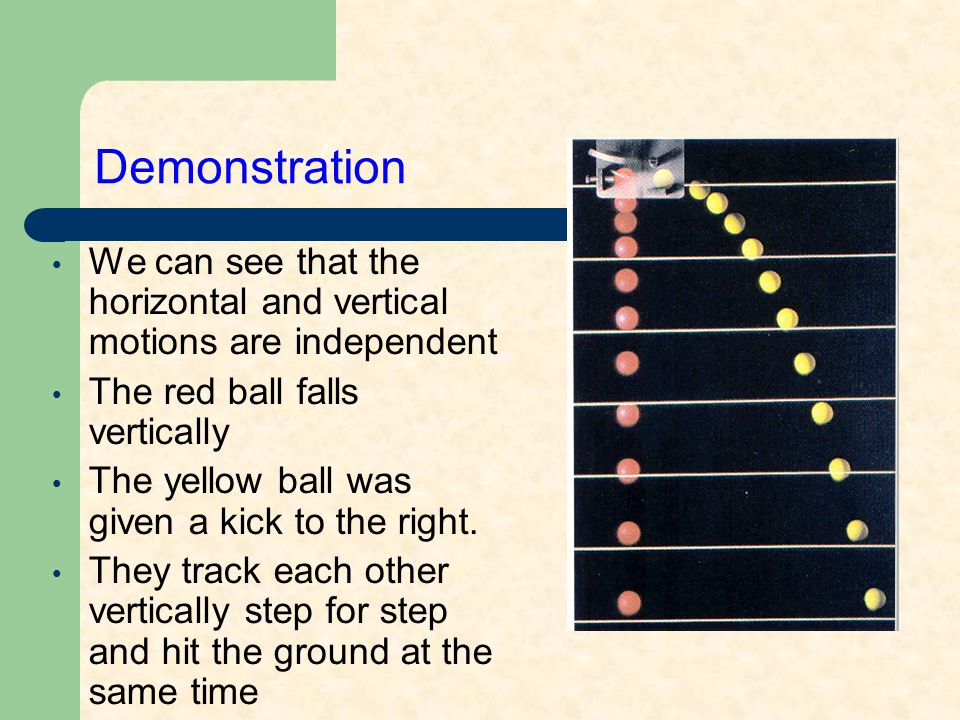  The key to understanding projectile motion is to realize that gravity acts vertically  it affects only the vertical part of the motion, not the horizontal part of the motion Understanding Projectiles