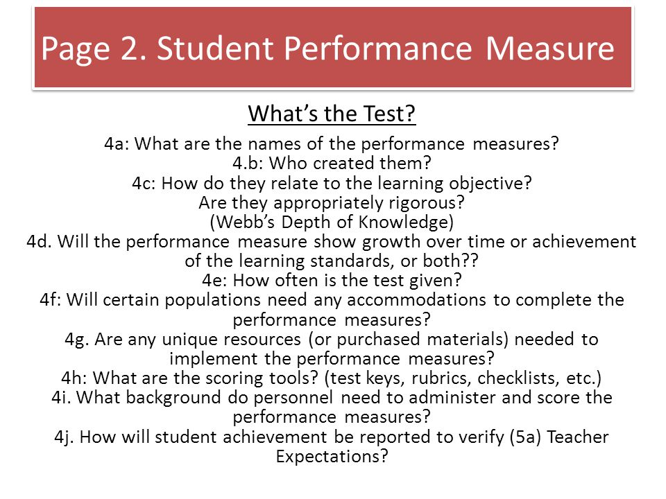 What's the Test. 4a: What are the names of the performance measures.