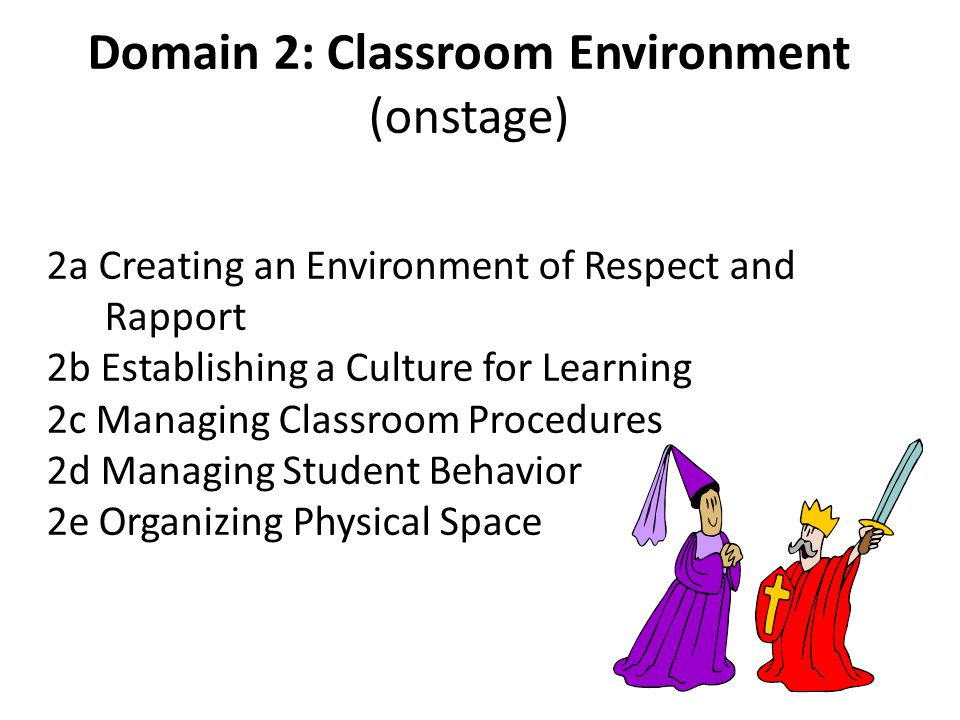 Domain 2: Classroom Environment (onstage) 2a Creating an Environment of Respect and Rapport 2b Establishing a Culture for Learning 2c Managing Classroom Procedures 2d Managing Student Behavior 2e Organizing Physical Space