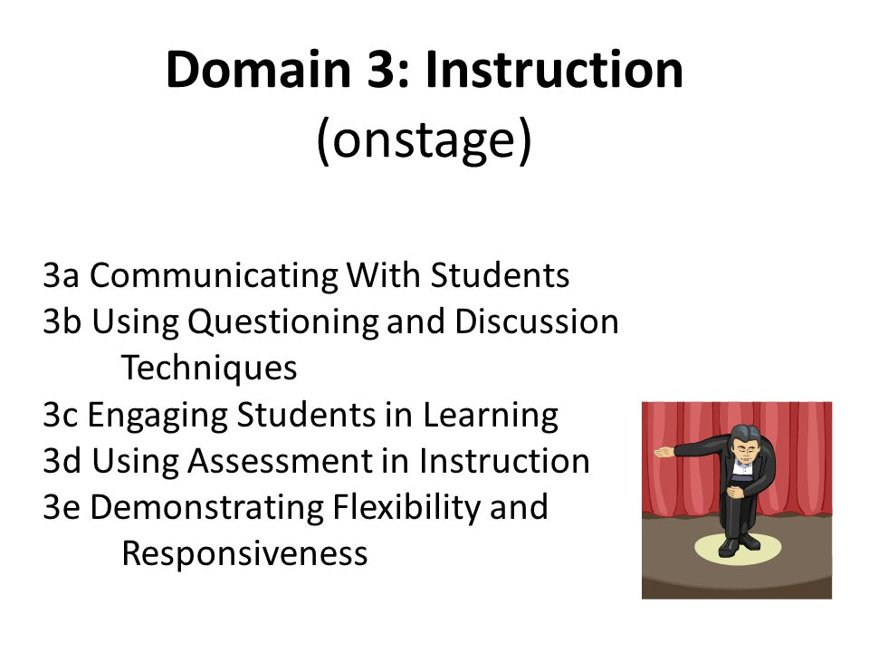 Domain 3: Instruction (onstage) 3a Communicating With Students 3b Using Questioning and Discussion Techniques 3c Engaging Students in Learning 3d Using Assessment in Instruction 3e Demonstrating Flexibility and Responsiveness