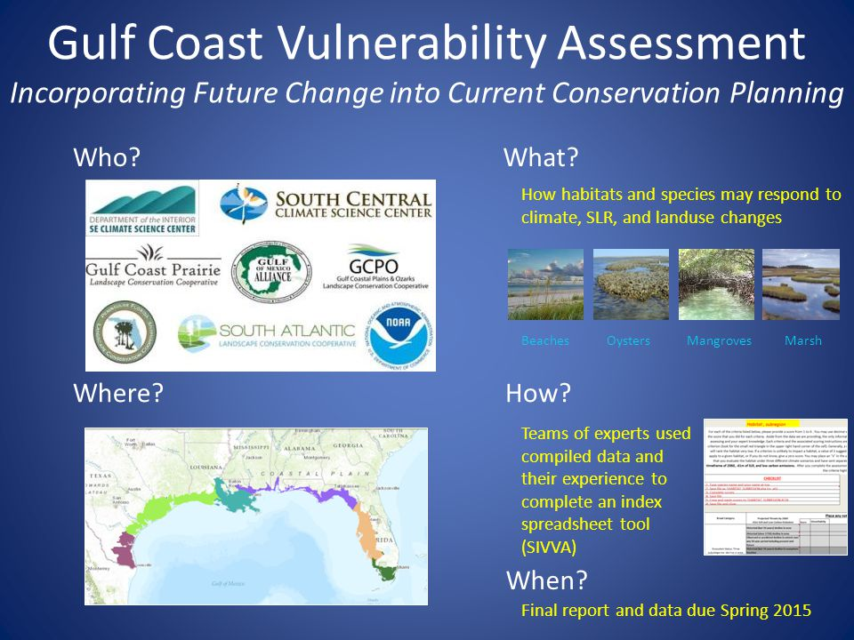 Gulf Coast Vulnerability Assessment Incorporating Future Change into Current Conservation Planning Who?What.