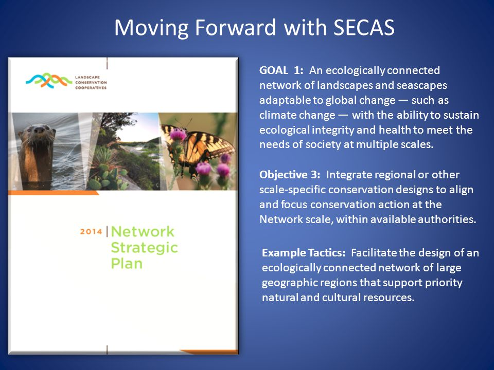 Moving Forward with SECAS GOAL 1: An ecologically connected network of landscapes and seascapes adaptable to global change — such as climate change — with the ability to sustain ecological integrity and health to meet the needs of society at multiple scales.