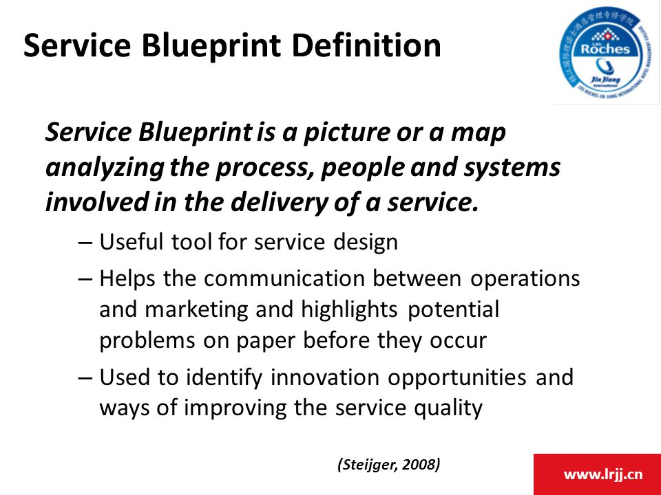 www.lrjj.cn Service Blueprint Definition Service Blueprint is a picture or a map analyzing the process, people and systems involved in the delivery of a service.