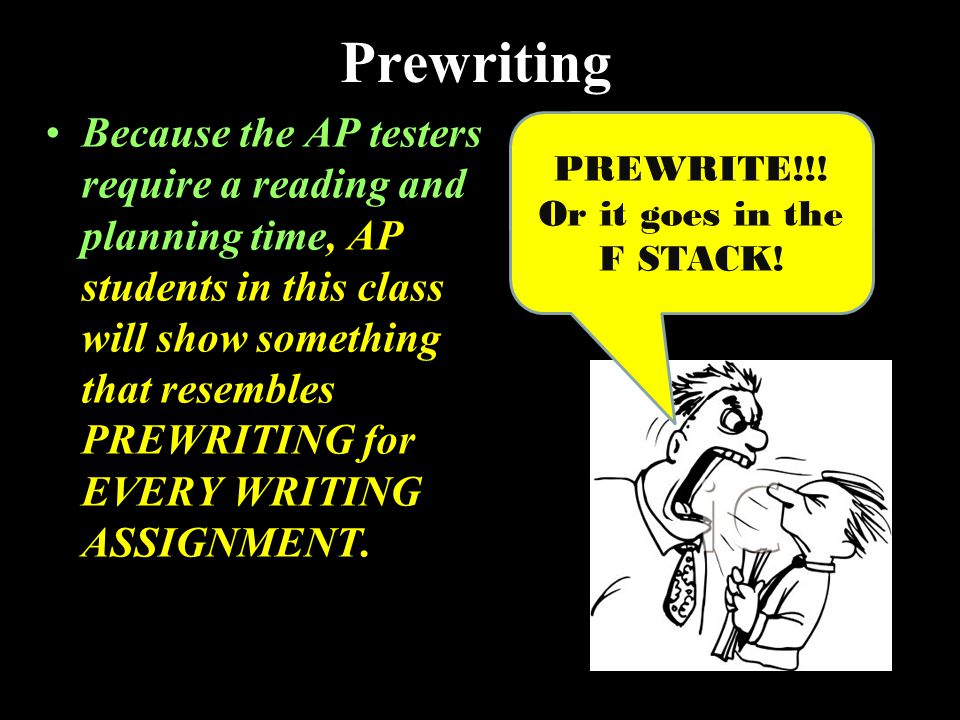 Prewriting Because the AP testers require a reading and planning time, AP students in this class will show something that resembles PREWRITING for EVERY WRITING ASSIGNMENT.