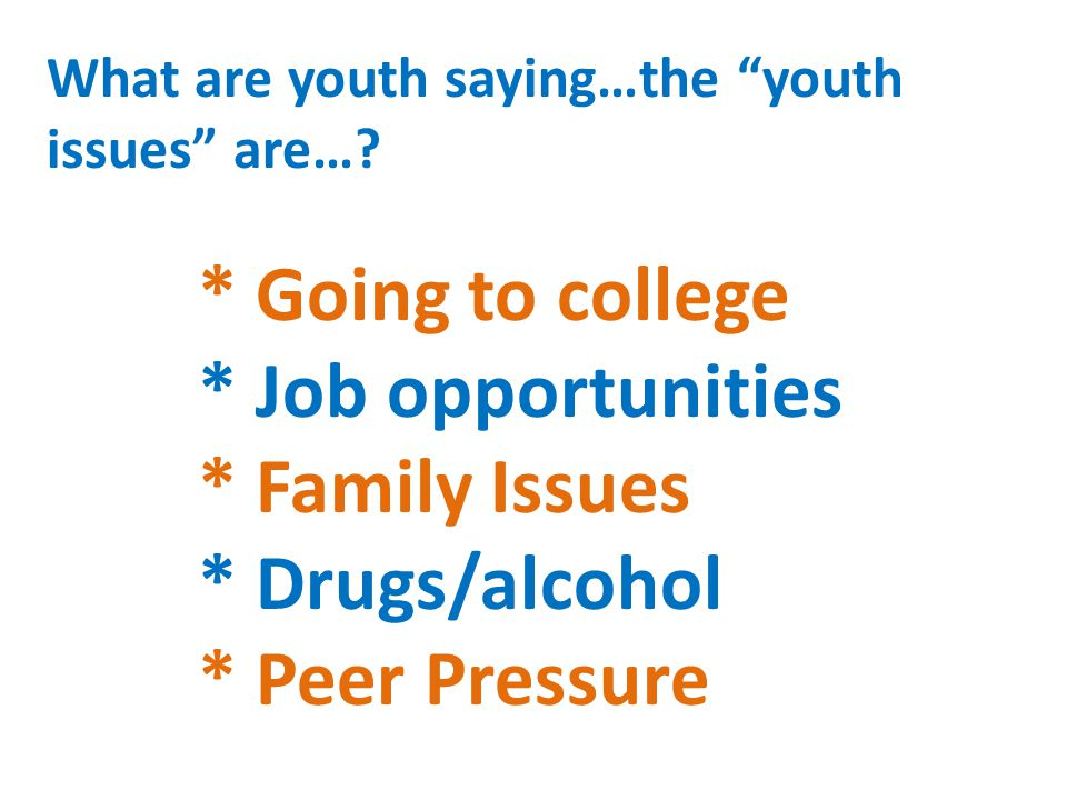 "What are youth saying…the ""youth issues"" are…? * Going to college * Job opportunities * Family Issues * Drugs/alcohol * Peer Pressure"