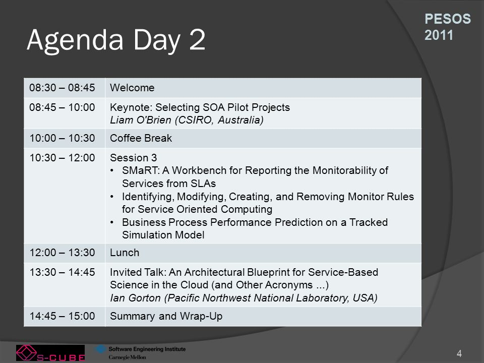PESOS 2011 4 Agenda Day 2 08:30 – 08:45Welcome 08:45 – 10:00Keynote: Selecting SOA Pilot Projects Liam O Brien (CSIRO, Australia) 10:00 – 10:30Coffee Break 10:30 – 12:00Session 3 SMaRT: A Workbench for Reporting the Monitorability of Services from SLAs Identifying, Modifying, Creating, and Removing Monitor Rules for Service Oriented Computing Business Process Performance Prediction on a Tracked Simulation Model 12:00 – 13:30Lunch 13:30 – 14:45Invited Talk: An Architectural Blueprint for Service-Based Science in the Cloud (and Other Acronyms...) Ian Gorton (Pacific Northwest National Laboratory, USA) 14:45 – 15:00Summary and Wrap-Up