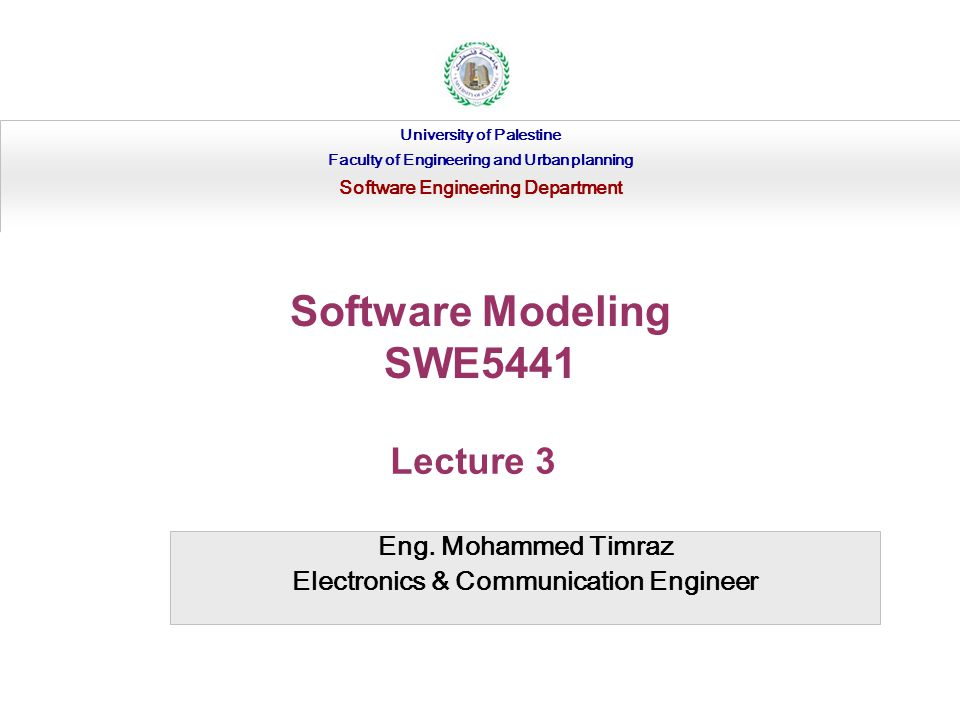 Eng. Mohammed Timraz Electronics & Communication Engineer University of Palestine Faculty of Engineering and Urban planning Software Engineering Depar