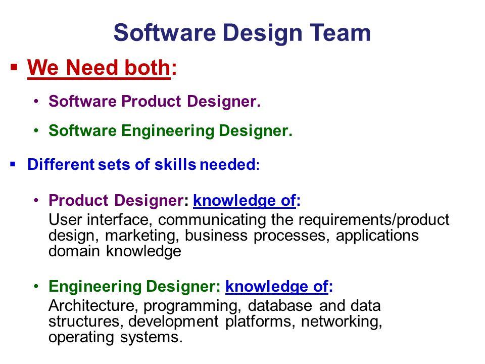 Software Design Team  We Need both: Software Product Designer. Software Engineering Designer.  Different sets of skills needed : Product Designer: k