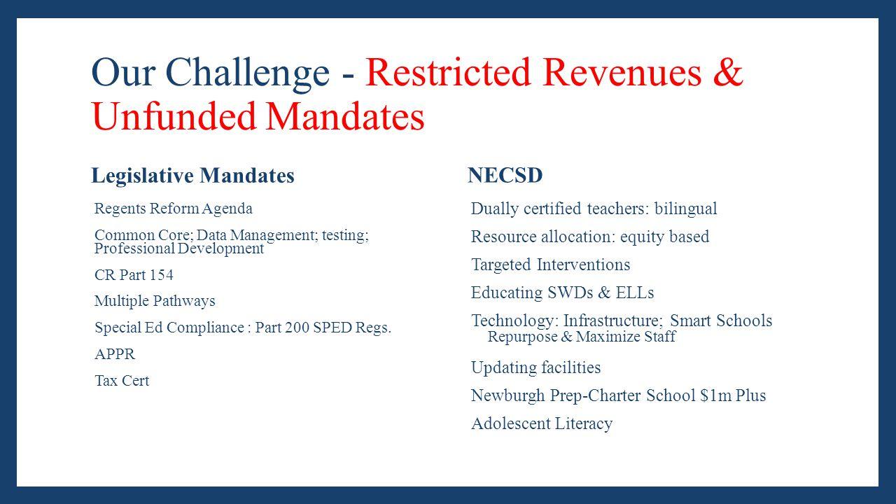 Our Challenge - Restricted Revenues & Unfunded Mandates Legislative Mandates Regents Reform Agenda Common Core; Data Management; testing; Professional Development CR Part 154 Multiple Pathways Special Ed Compliance : Part 200 SPED Regs.