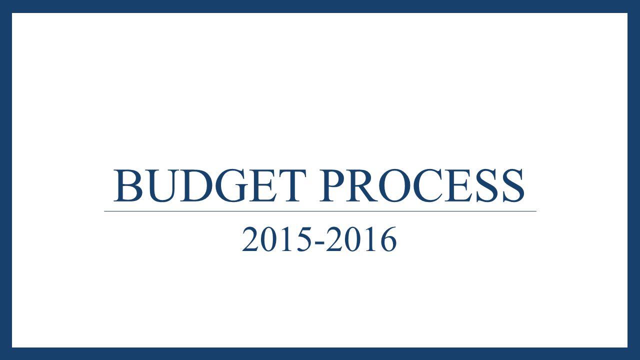 BUDGET PROCESS 2015-2016