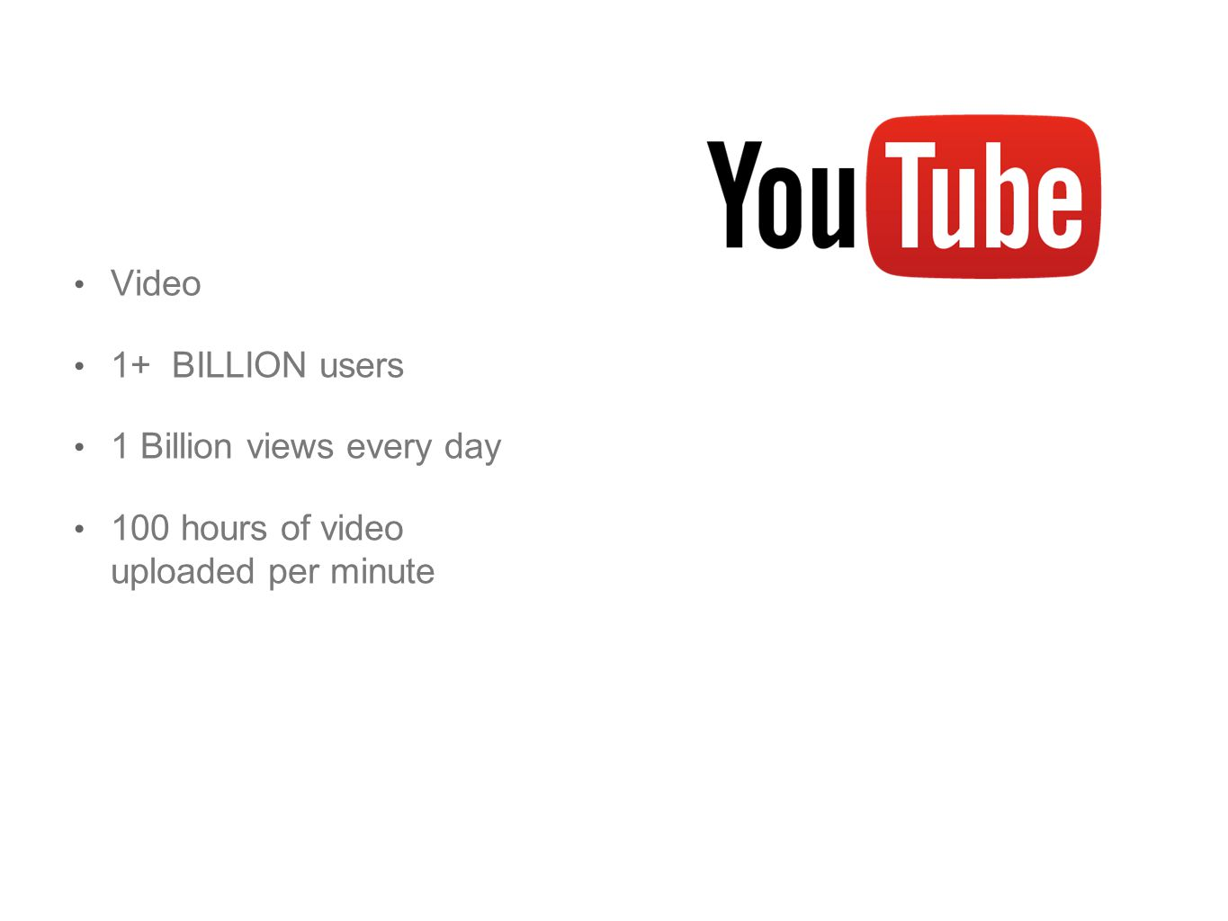 Video 1+ BILLION users 1 Billion views every day 100 hours of video uploaded per minute