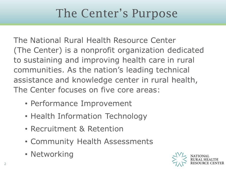 Main Points 3 US health system is changing from volume to value The road ahead for rural health providers will be challenging but could be rewarding Rural health providers can be successful in the new health system We must take action now to create value