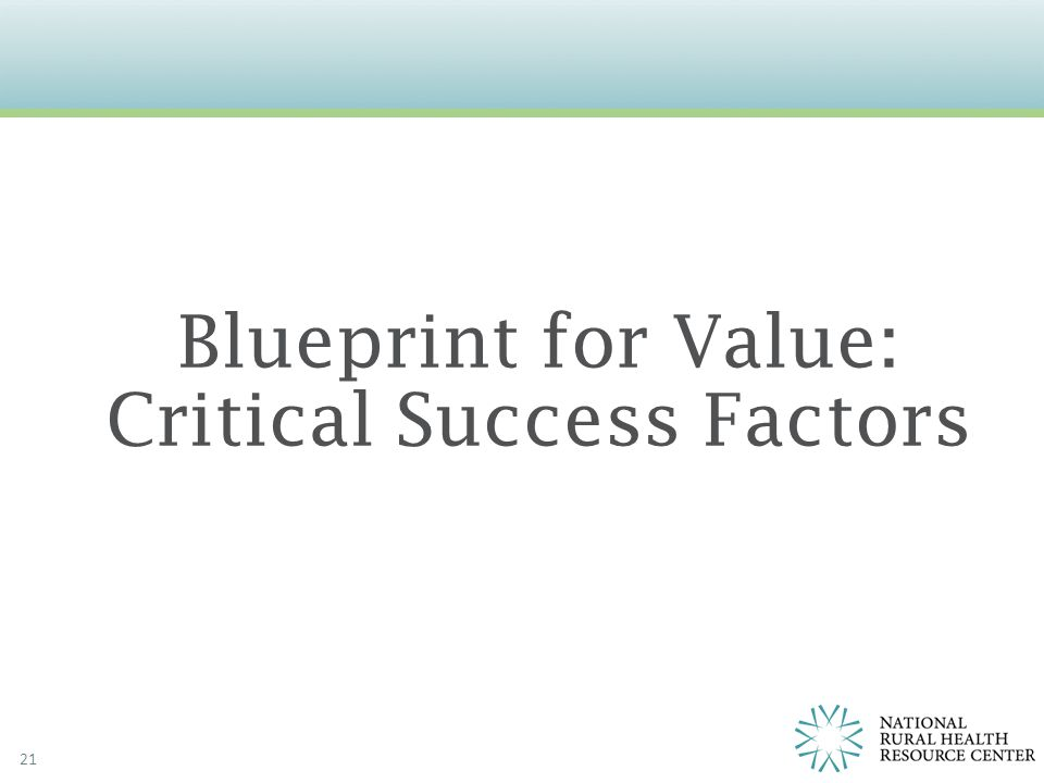 21 Blueprint for Value: Critical Success Factors