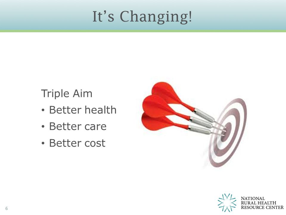 It's Changing! 6 Triple Aim Better health Better care Better cost