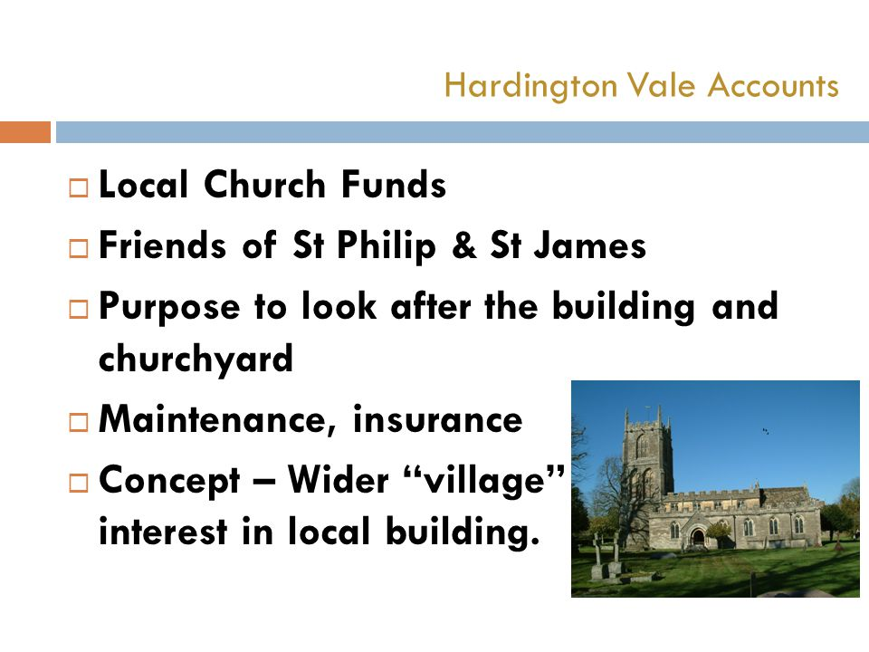  Local Church Funds  Friends of St Philip & St James  Purpose to look after the building and churchyard  Maintenance, insurance  Concept – Wider village interest in local building.