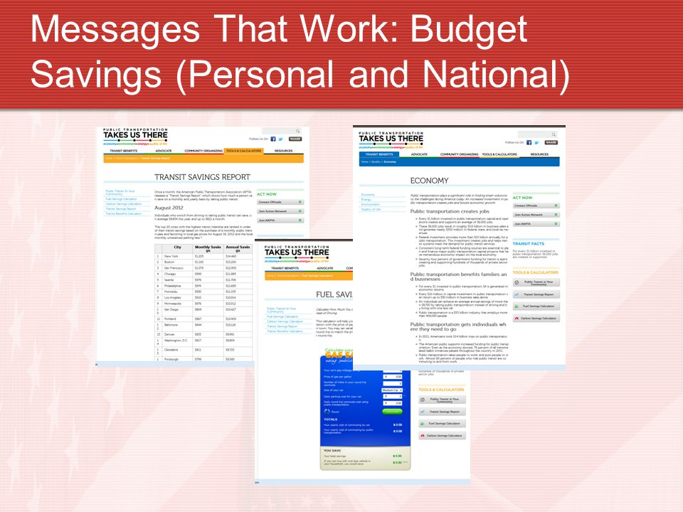 Messages That Work: Budget Savings (Personal and National)