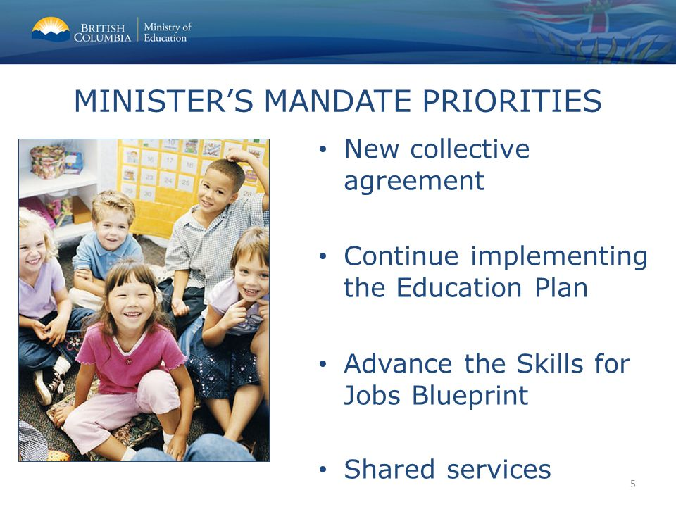 New collective agreement Continue implementing the Education Plan Advance the Skills for Jobs Blueprint Shared services MINISTER'S MANDATE PRIORITIES