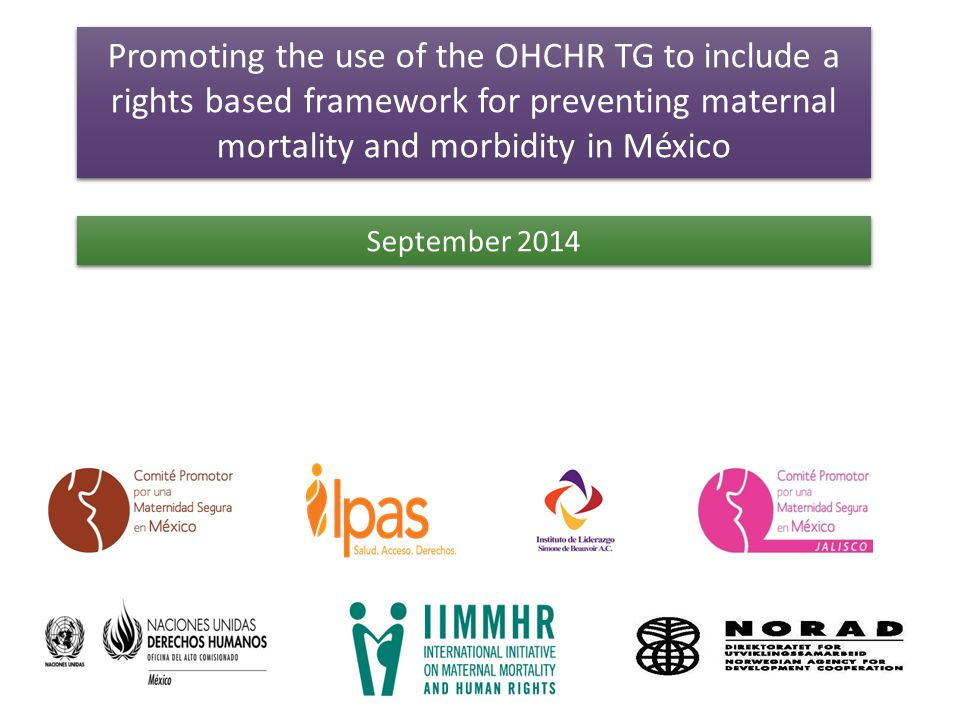 The IIMMHR and the OHCHR TG Promote MMM as a violation of a woman's HR: to life, health, equality and non- discrimination.