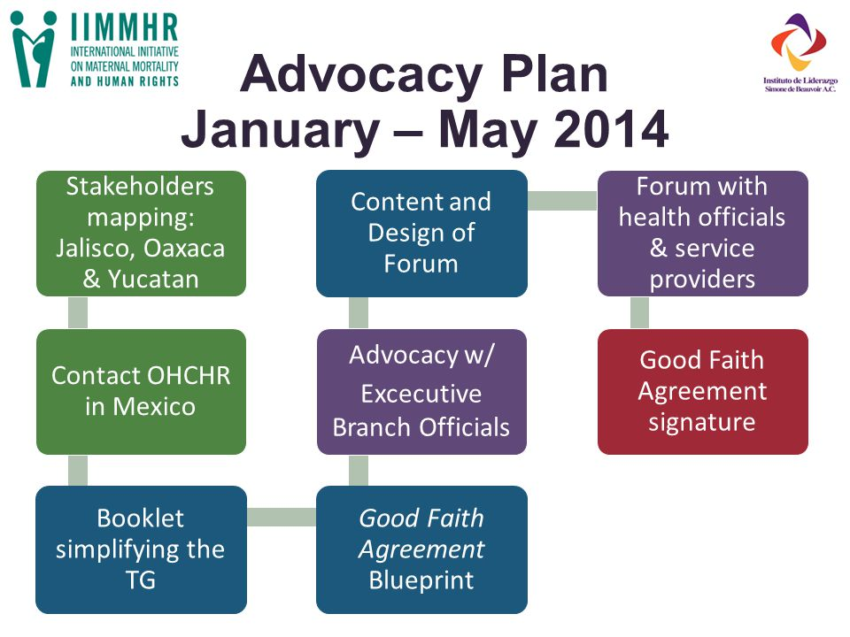 Advocacy Plan January – May 2014 Stakeholders mapping: Jalisco, Oaxaca & Yucatan Contact OHCHR in Mexico Booklet simplifying the TG Good Faith Agreement Blueprint Advocacy w/ Excecutive Branch Officials Content and Design of Forum Forum with health officials & service providers Good Faith Agreement signature