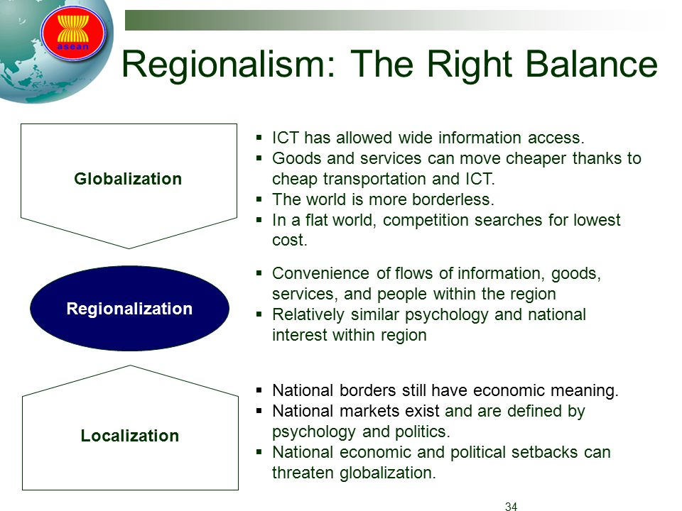 Regionalism: The Right Balance 34 Globalization Localization Regionalization  ICT has allowed wide information access.
