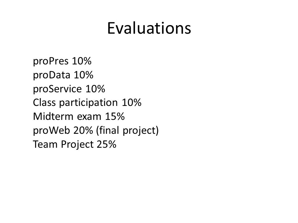 Evaluations proPres 10% proData 10% proService 10% Class participation 10% Midterm exam 15% proWeb 20% (final project) Team Project 25%