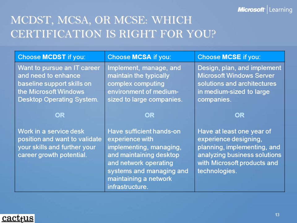 13 MCDST, MCSA, OR MCSE: WHICH CERTIFICATION IS RIGHT FOR YOU? Choose MCDST if you:Choose MCSA if you:Choose MCSE if you: Want to pursue an IT career