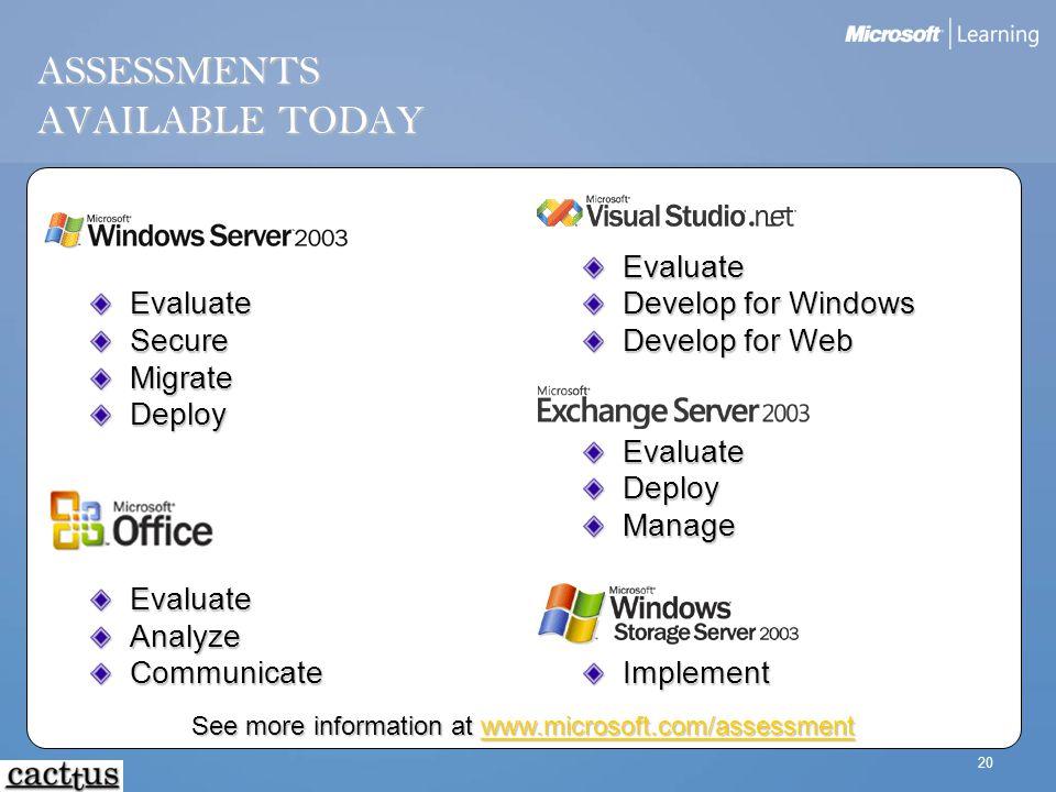 20 ASSESSMENTS AVAILABLE TODAY EvaluateSecureMigrateDeployEvaluateAnalyzeCommunicate Evaluate Develop for Windows Develop for Web Evaluate Deploy Mana
