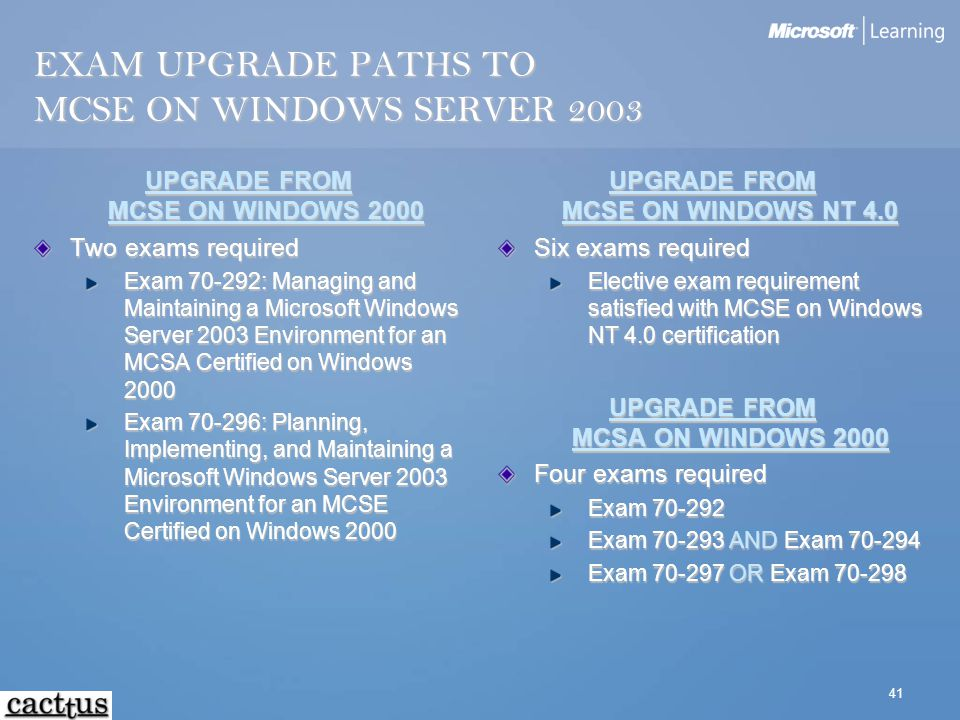 41 EXAM UPGRADE PATHS TO MCSE ON WINDOWS SERVER 2003 UPGRADE FROM MCSE ON WINDOWS 2000 Two exams required Exam 70-292: Managing and Maintaining a Micr