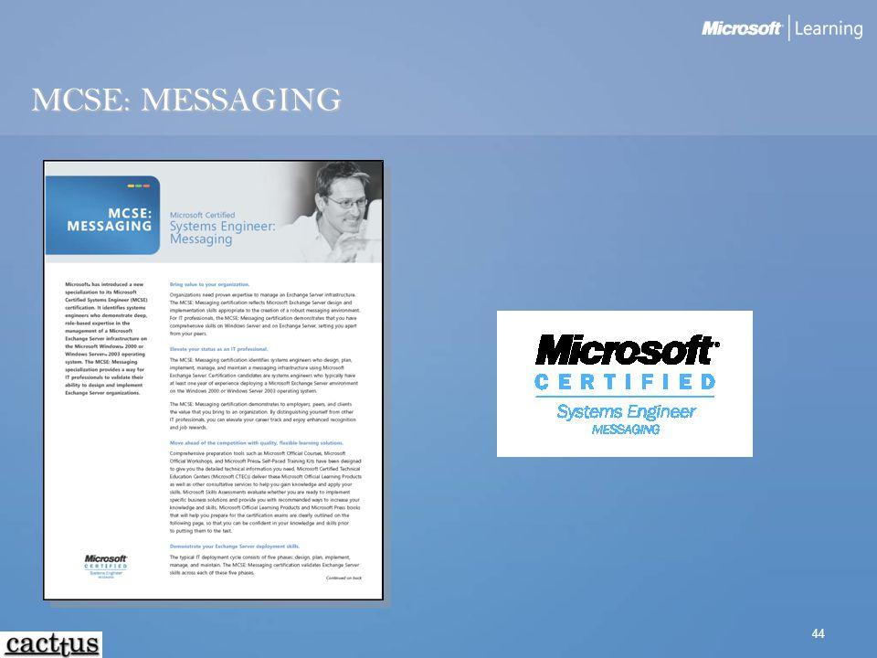 44 MCSE: MESSAGING
