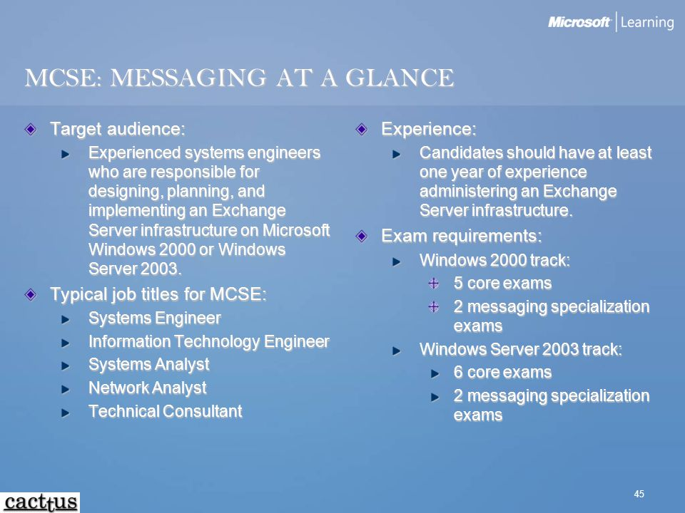 45 MCSE: MESSAGING AT A GLANCE Target audience: Experienced systems engineers who are responsible for designing, planning, and implementing an Exchang
