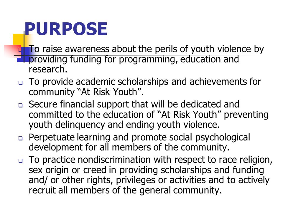 PURPOSE  To raise awareness about the perils of youth violence by providing funding for programming, education and research.
